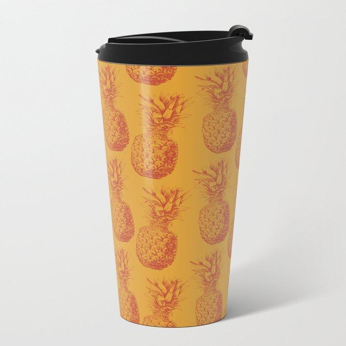 Hand drawn pineapple pattern Metal Travel Mug