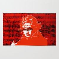 beethoven Area & Throw Rugs featuring Ludwig van Beethoven · red10 by Marko Köppe