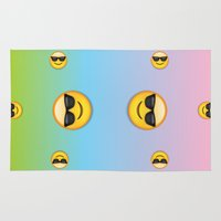 emoji Area & Throw Rugs featuring Sunglasses Emoji by jajoão