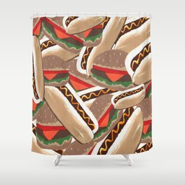 Hot Dogs And Hamburgers Shower Curtain