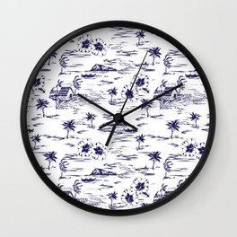 Tropical Island Vintage Hawaii Summer Pattern in Navy Blue Wall Clock