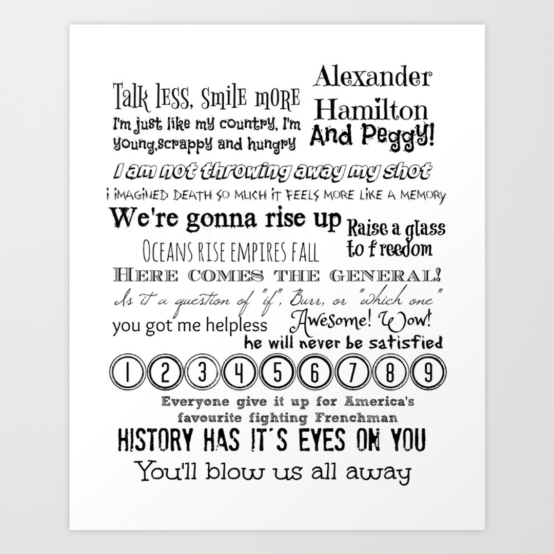 Throwing In The Towel Quotes Hamilton Lyrics And Painting Art Prints  Society6