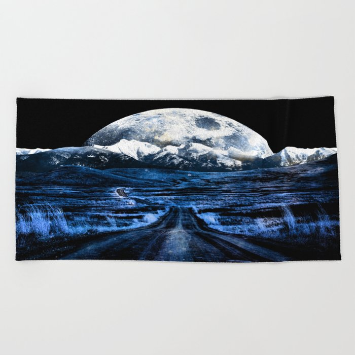 Road to Eternity (blue vintage moon mountain) Beach Towel
