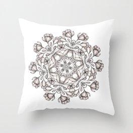 light broun flowers mandala Throw Pillow