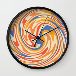 70s Retro Swirl Color Abstract 2 Wall Clock