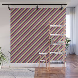 Summer Bright Colors Inclined Stripes Wall Mural