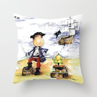 pirate ship Throw Pillows featuring Pirate by LolMalone