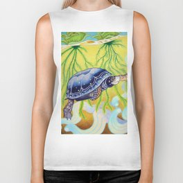 Swimming Spotted Turtle, Turtle Art Biker Tank