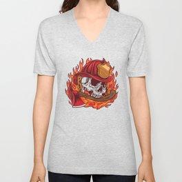 Firefighter skull Unisex V-Neck