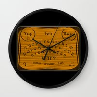 ouija Wall Clocks featuring Ouija 3.0 by tuditees