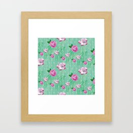 Blossom Willow Flower Pattern Turquoise & Pink Framed Art Print