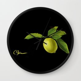 Lemon on Black DP150415a Wall Clock