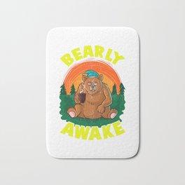 Bearly Awake Sleeping Bear Funny Barely Awake Pun Bath Mat