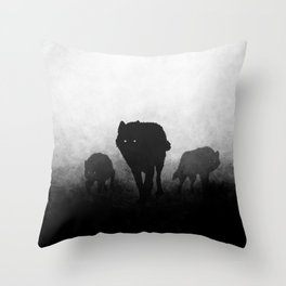Black and White Wolfpack Throw Pillow