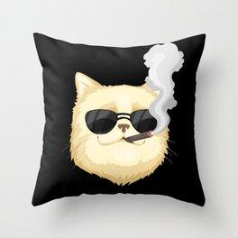 Funny Cat Smoking Sigar Throw Pillow