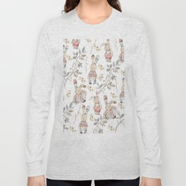 Cute Easter Bunnies with Watercolor Flowers,Sprigs and Leaves Long Sleeve T-shirt
