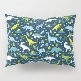 Kawaii Dinosaurs in Blue + Green Pillow Sham