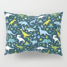 Kawaii Dinosaurs in Blue + Green Pillow Sham