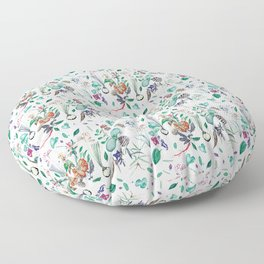 botanical illustration with herbs, vegetables, roots Floor Pillow