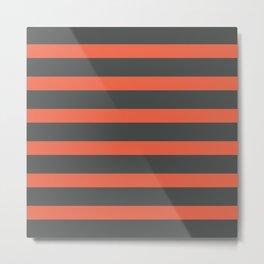 Orange Coral Stripes on Gray Background Metal Print