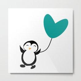 Penguin in love White Metal Print