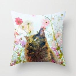 Black Fluffy Kitten in the Flower Garden Sunshine Throw Pillow