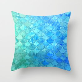 Summer Dream Colorful Trendy Mermaid Scales Throw Pillow
