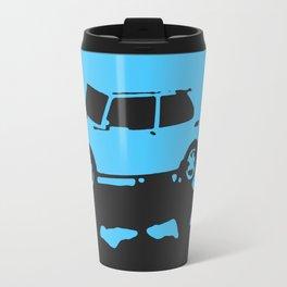 Saab 99 EMS, Light Blue on Black Travel Mug