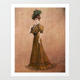 Woman in yellow dress Edwardian Era in Fashion Art Print