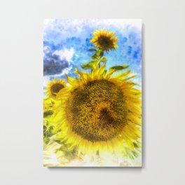 Summers Day Sunflowers Art Metal Print
