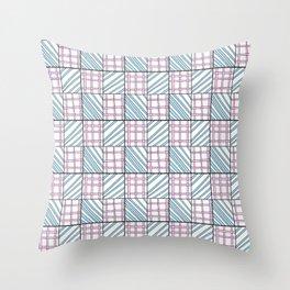 symetric tartan and gingham 25 -vichy, gingham,strip,square,geometric, sober,tartan Throw Pillow