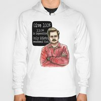 ron swanson Hoodies featuring Ron Swanson by Tiffany Willis