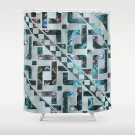 Abstract Geometric Labradorite on Mother of pearl Shower Curtain