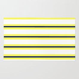 Nautical Yellow, White and Navy, Crisp and Clean Lines Rug