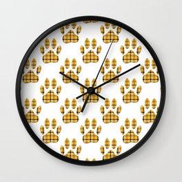 Dog Paw Print Tartan Pattern Wall Clock