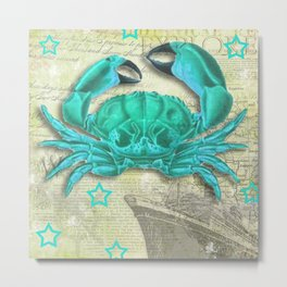 Turquoise Crab on Vintage Paper Metal Print