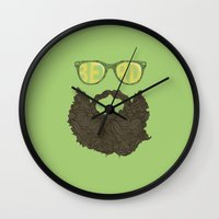 beard Wall Clocks featuring Beard by Pedro Barbosa