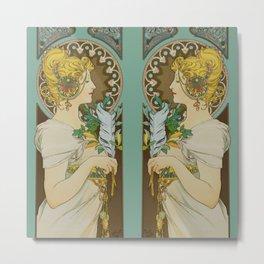 "Alphonse Mucha ""Feather"" Metal Print"