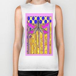 Polka Dragonfly Golden Rain Abstract Biker Tank