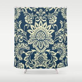 damask in white and blue vintage Shower Curtain