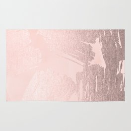 Rose Gold Pastel Pink Paint Brush Rug