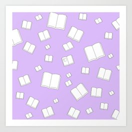 Lilac Flying Books Pattern Art Print