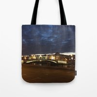 moscow Tote Bags featuring Night Moscow. by Mikhail Zhirnov