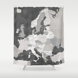 Distressed map of Europe in gray - PRINTS IN SIZES L and XL ONLY Shower Curtain