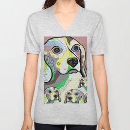 Beagle and Babies Soft Color Palette Unisex V-Neck