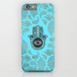 Hamsa Hand Hand of Fatima with paisley background iPhone Case
