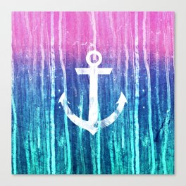 Nautical Anchor Pink Teal Watercolor Stripes Drips Canvas Print