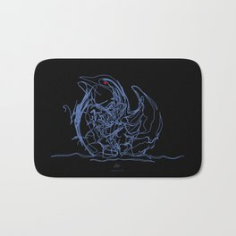 Swan-1. Light blue on Black background-(Red eyes series) Bath Mat