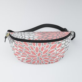Festive, Floral Prints, Coral, Gray and White Fanny Pack