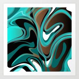 Liquify - Brown, Turquoise, Teal, Black, White Art Print